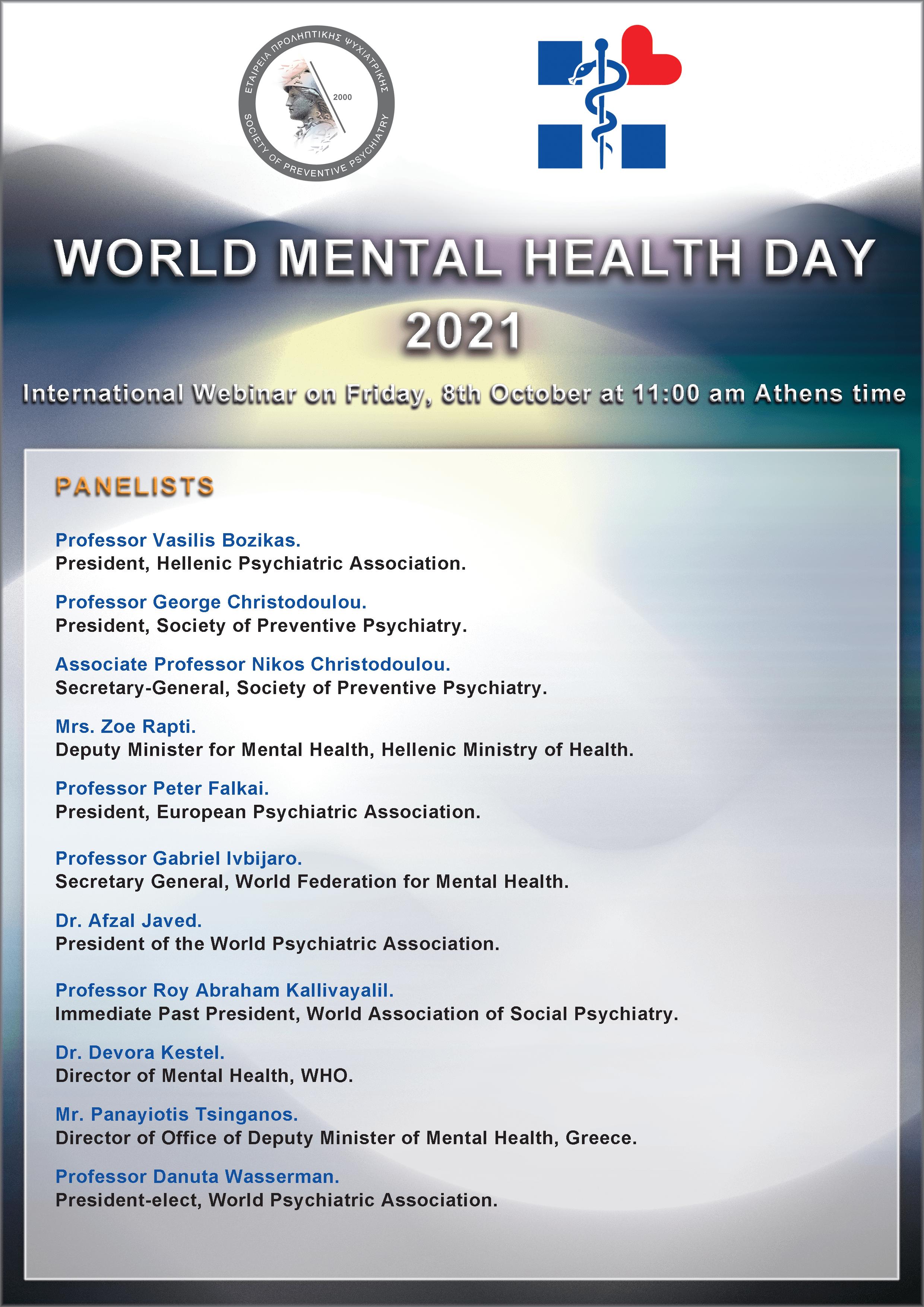 WORLD MENTAL HEALTH DAY 2021 - Panelists.