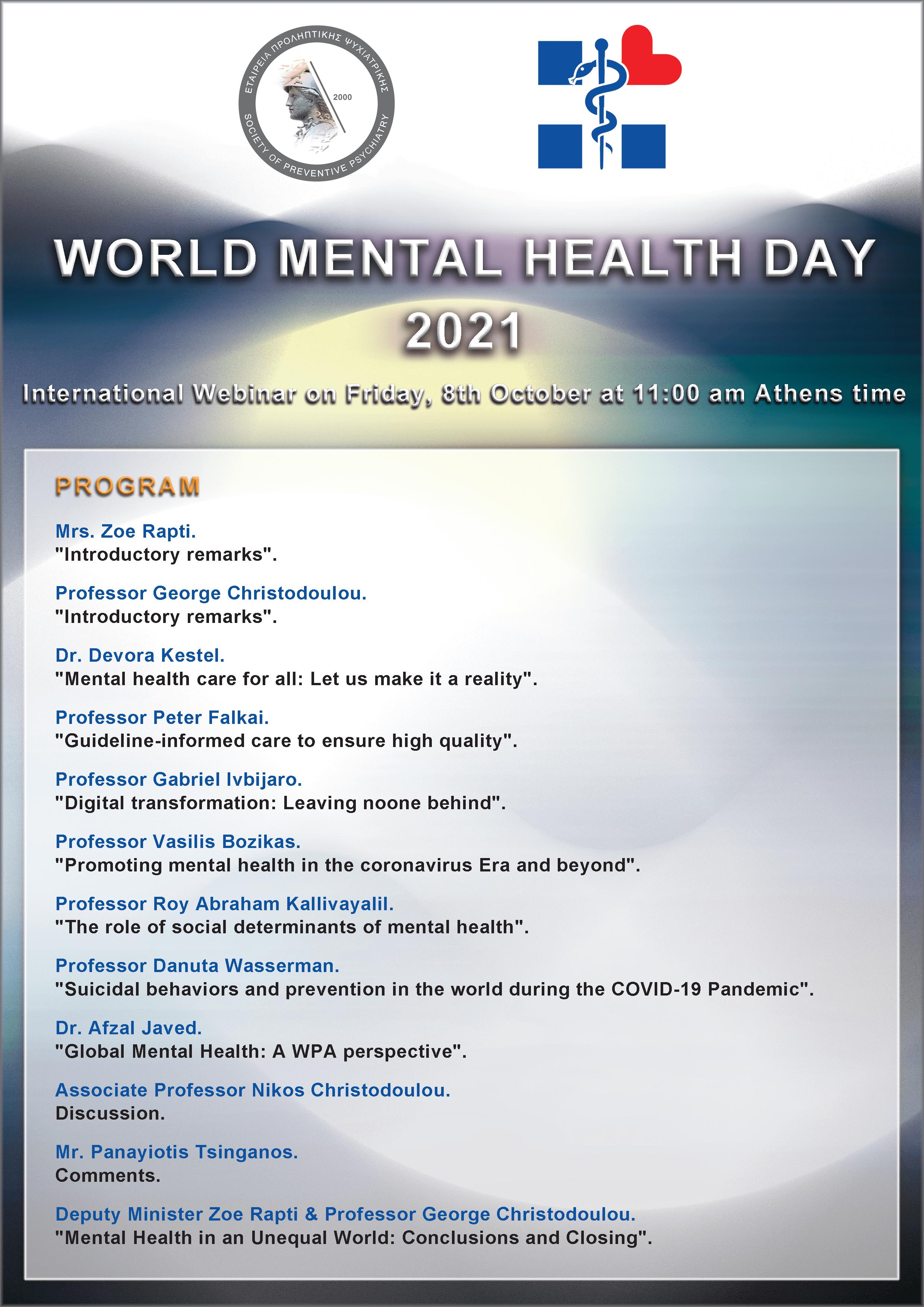 WORLD MENTAL HEALTH DAY 2021 - Program.